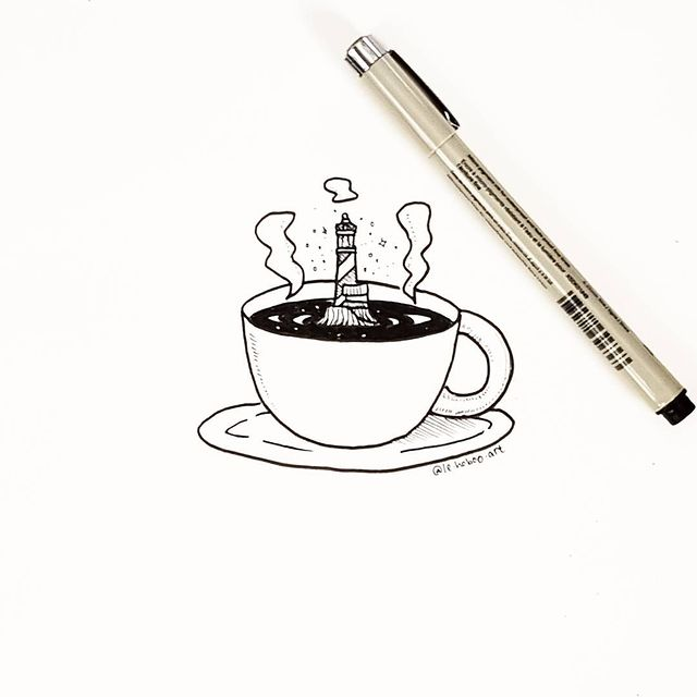 Drawing of a lighthouse in a cup of coffee.