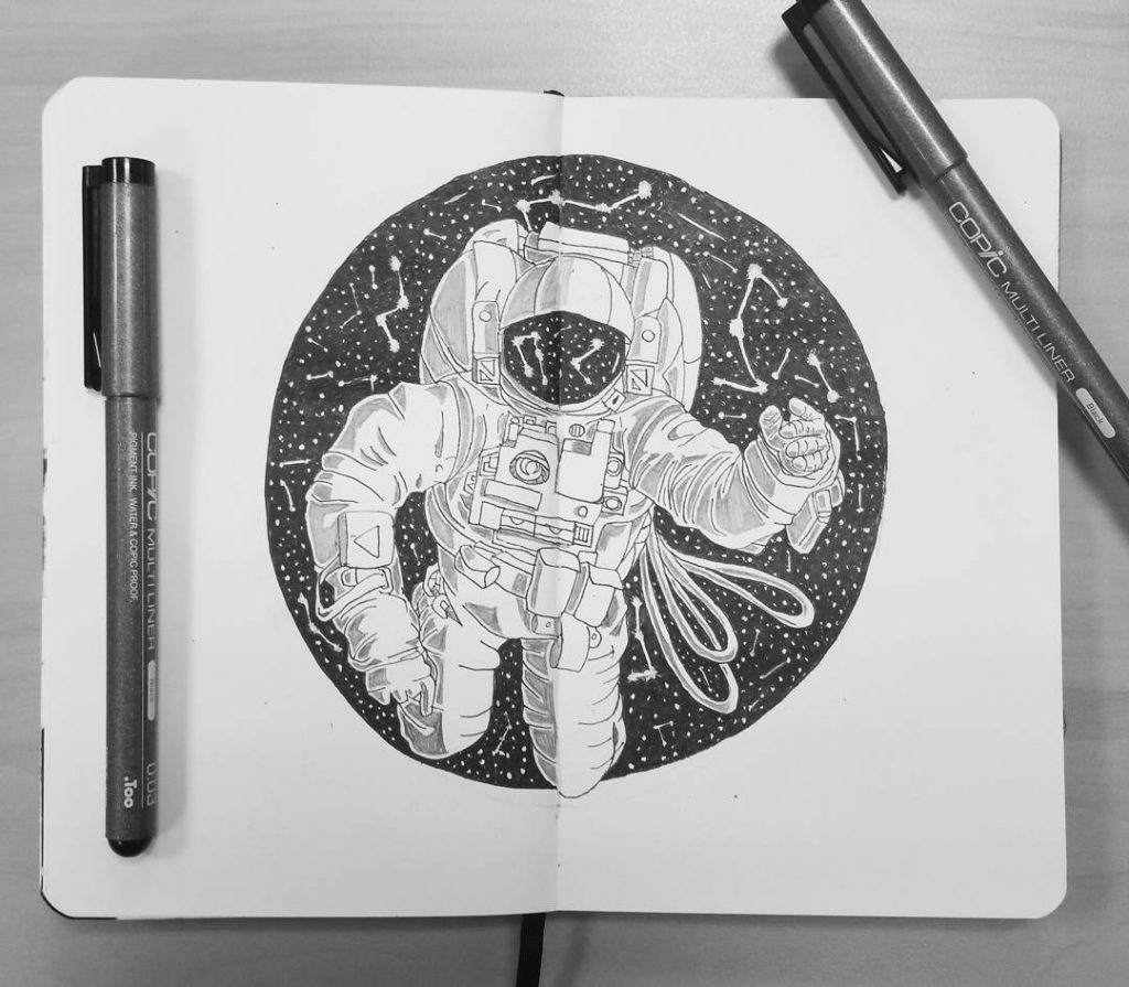 Drawing of an astronaut in space.